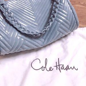 Cole Haan Patent Leather Mermaid Blue Woven Handba